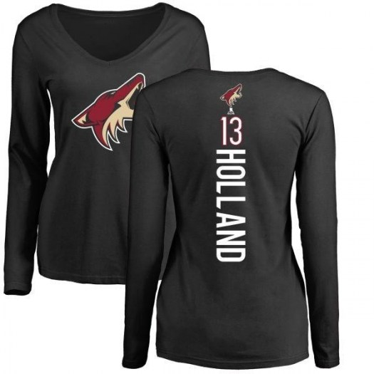 Peter Holland Arizona Coyotes Women's Black Branded Backer Long Sleeve T-Shirt -